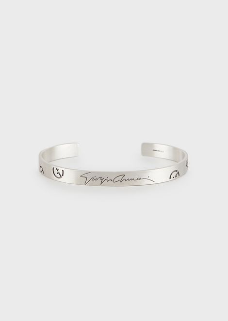 Silver cuff bracelet with logo
