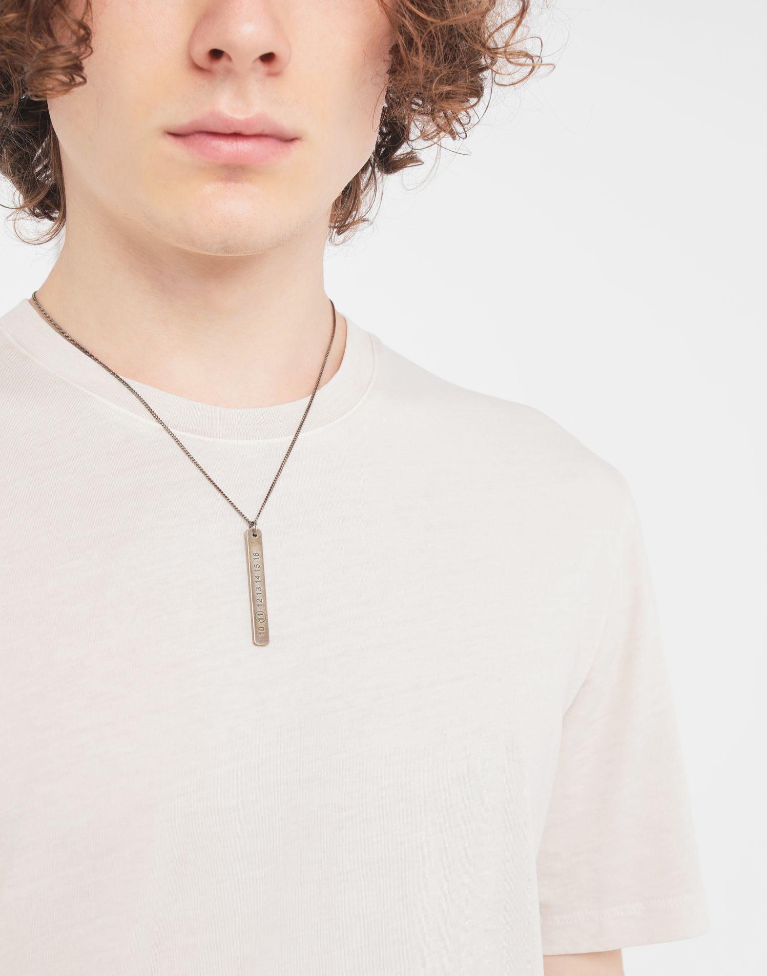 MAISON MARGIELA Silver tag necklace Necklace Man r