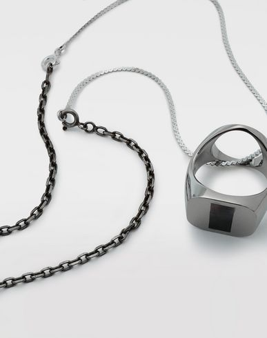 JEWELLERY Silver chevalier ring necklace