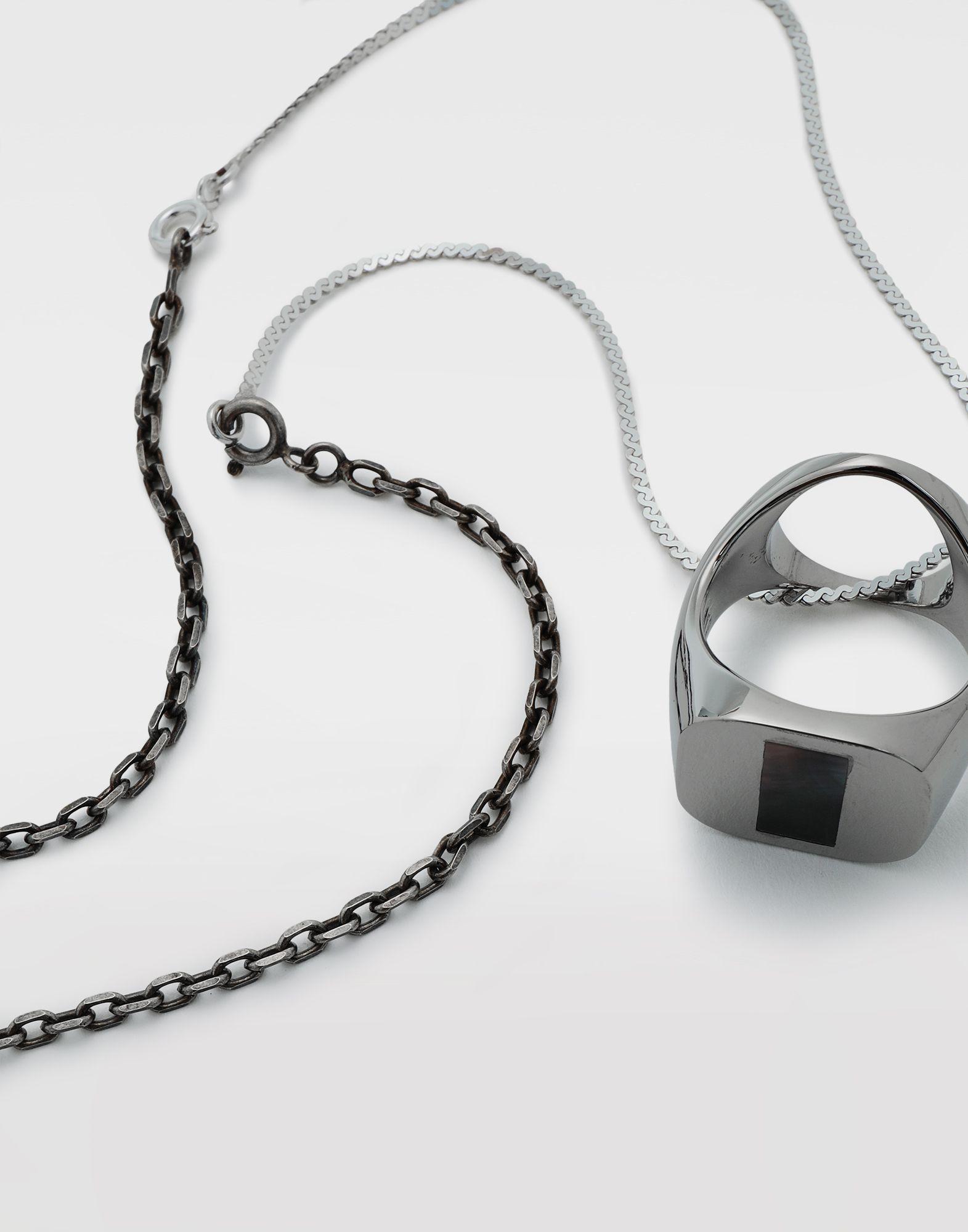 MAISON MARGIELA Silver chevalier ring necklace Necklace Man e