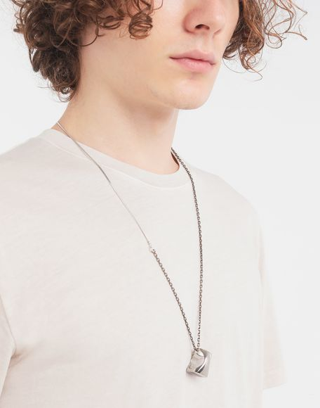 MAISON MARGIELA Silver chevalier ring necklace Necklace Man r