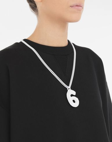 JEWELRY  '6' logo necklace White
