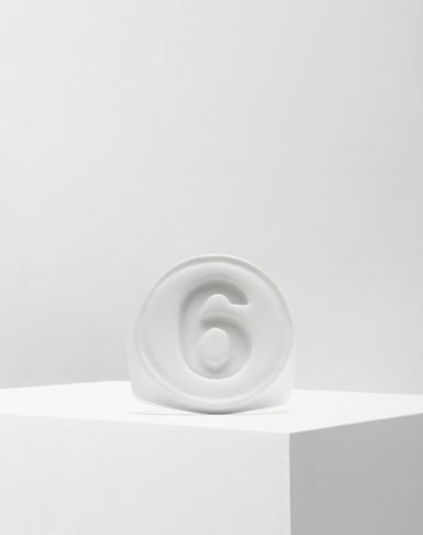 JEWELLERY '6' logo ring White