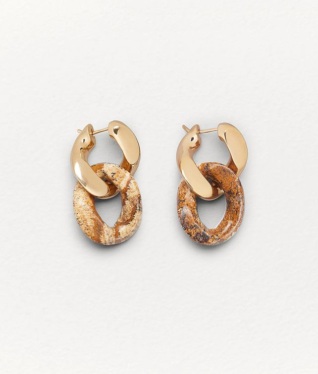 BOTTEGA VENETA EARRINGS IN PICTURE JASPER AND GOLD PLATED SILVER Earrings Woman fp