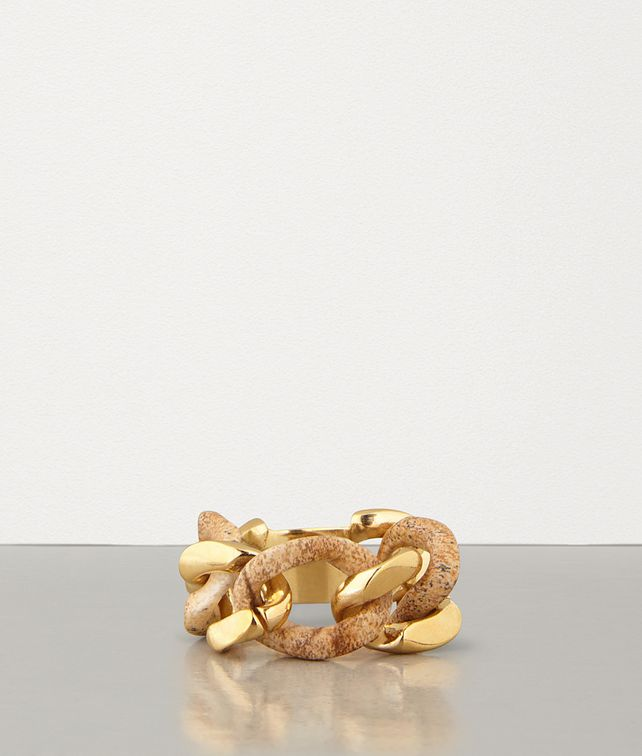 BOTTEGA VENETA RING IN PICTURE JASPER AND GOLD-PLATED SILVER Ring Woman fp