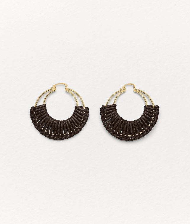 BOTTEGA VENETA EARRINGS IN GOLD PLATED SILVER AND NAPPA Earrings Woman fp