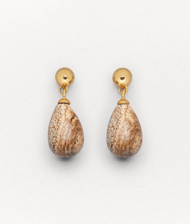BOTTEGA VENETA EARRINGS IN PICTURE JASPER AND GOLD-PLATED SILVER Earrings Woman fp