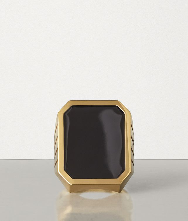 BOTTEGA VENETA RING IN GOLD-PLATED SILVER AND ENAMEL Ring Man fp