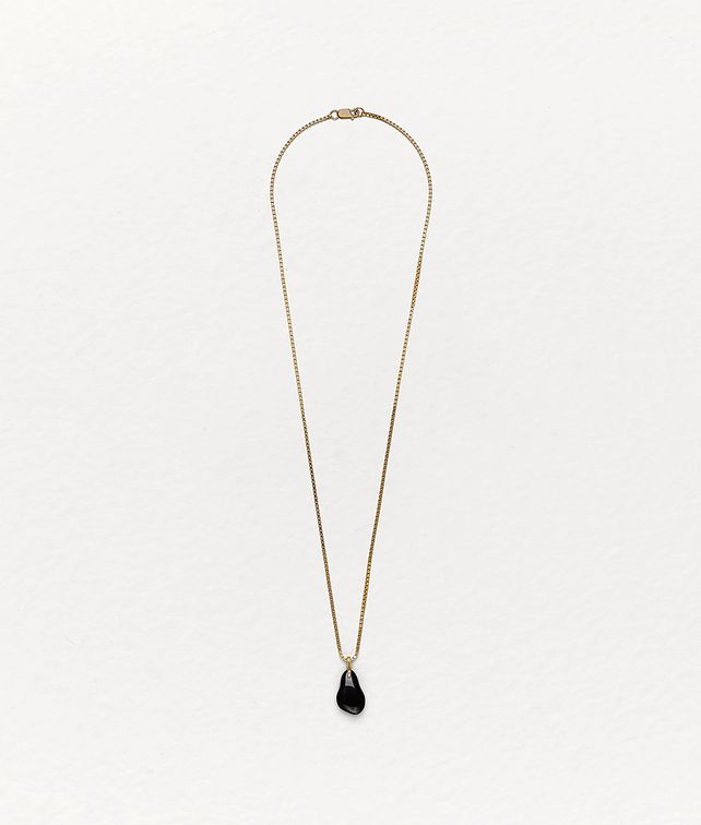 BOTTEGA VENETA PENDANT IN ONYX AND GOLD-PLATED SILVER Necklace Man fp