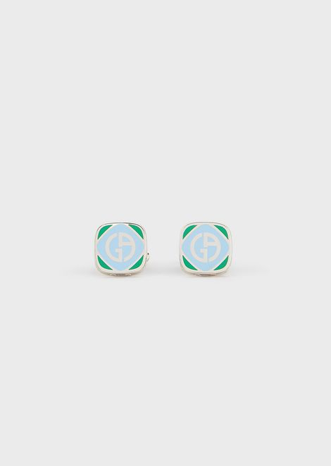Cufflinks in enamelled silver