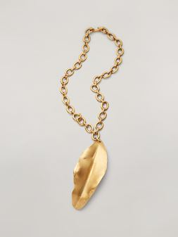 Marni NATURE long necklace in metal leaf-shaped pendant Woman