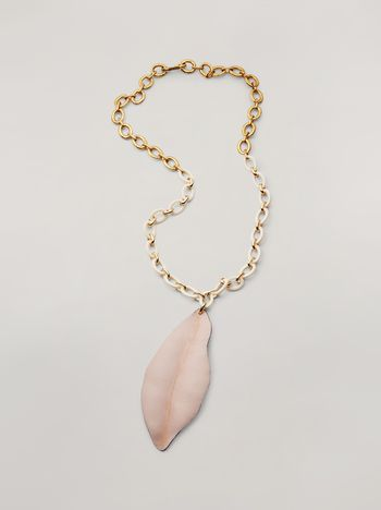 Marni NATURE long necklace in resin metal and leather leaf-shaped pendant Woman f