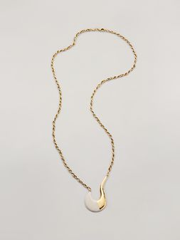 Marni BLOW UP long necklace in metal with painted hook-shaped pendant Woman