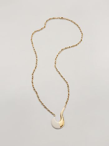 Marni BLOW UP long necklace in metal with painted hook-shaped pendant Woman f