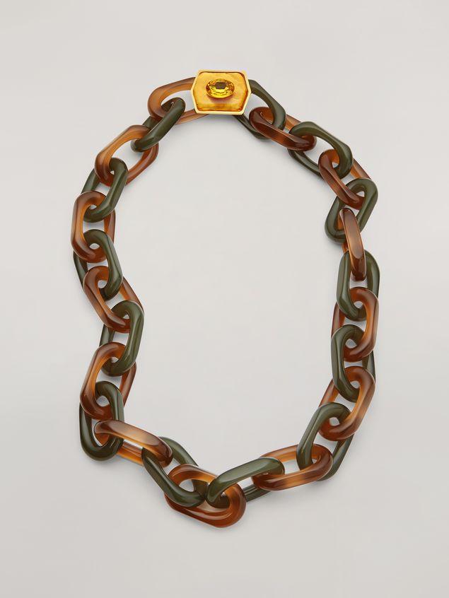 Marni VERTIGO long necklace in resin strass and metal with hexagonal ornament Woman - 1
