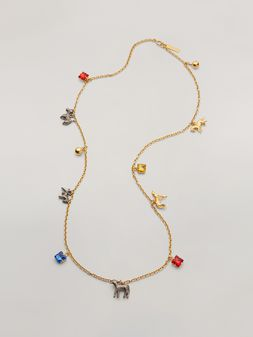 Marni GIGA JACKS long necklace in resin and metal with hammered metal animals Woman