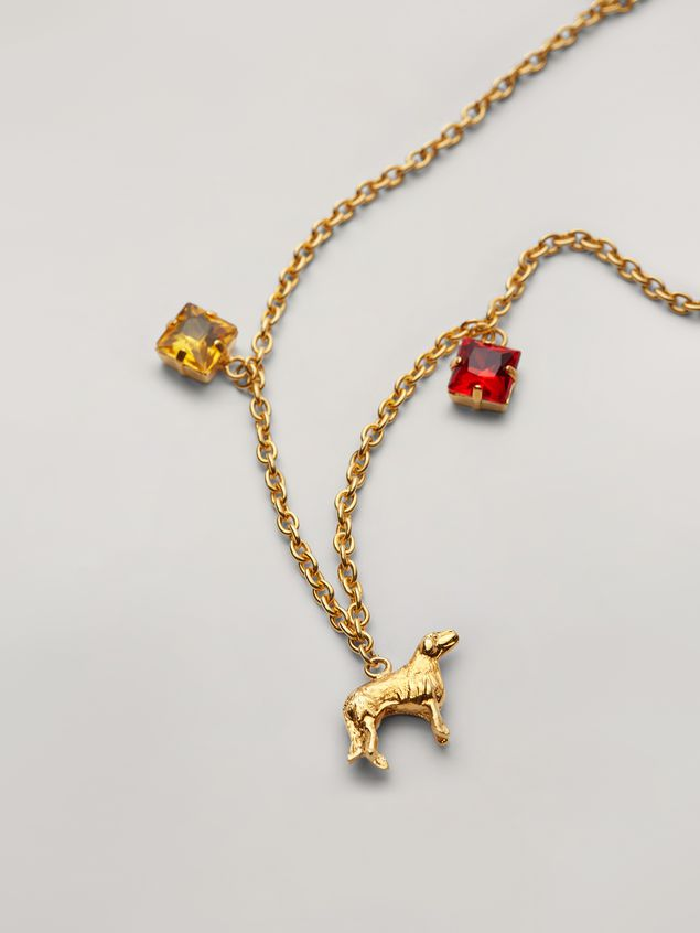 Marni GIGA JACKS long necklace in resin and metal with hammered metal animals Woman - 3