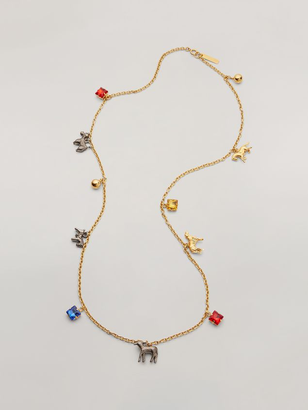 Marni GIGA JACKS long necklace in resin and metal with hammered metal animals Woman - 1