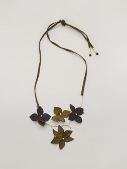 Marni FLORA necklace in metal with contrast cotton flowers Woman