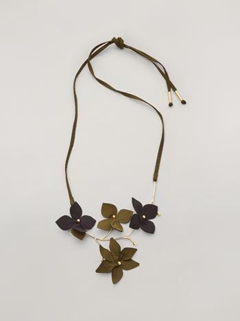 Marni FLORA necklace in metal with contrast cotton flowers Woman f
