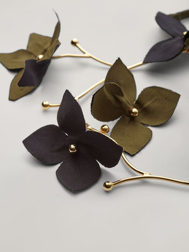 Marni FLORA necklace in metal with contrast cotton flowers Woman - 3