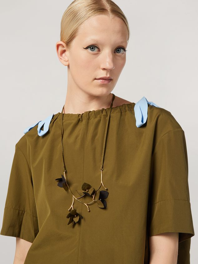 Marni FLORA necklace in metal with contrast cotton flowers Woman - 2