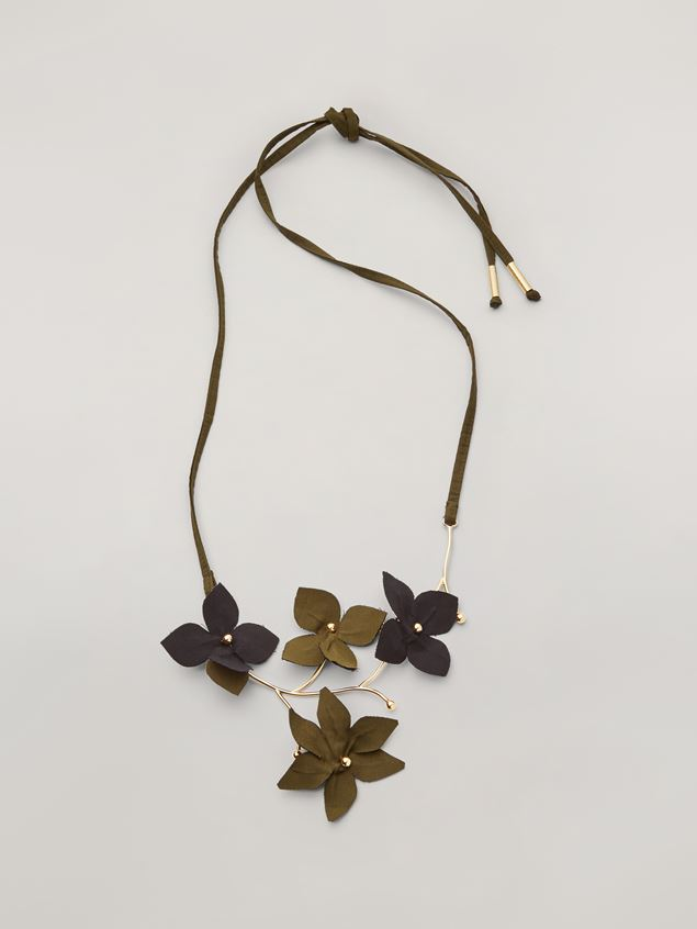 Marni FLORA necklace in metal with contrast cotton flowers Woman - 1