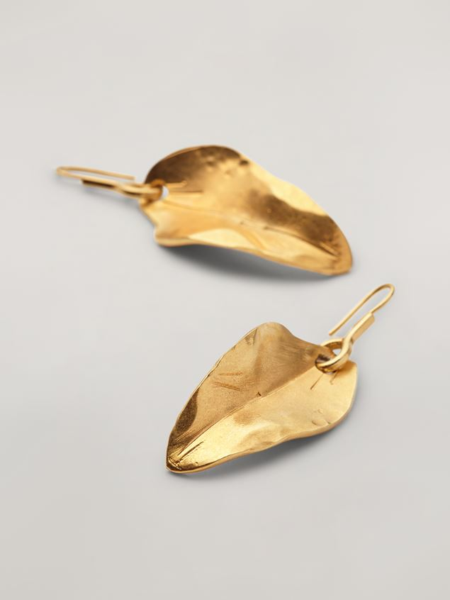 Marni NATURE earrings in metal with leaf-shaped pendant Woman - 4