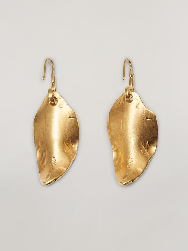 Marni NATURE earrings in metal with leaf-shaped pendant Woman - 3