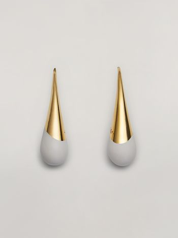 Marni BLOW UP earrings in metal with painted drop-shaped pendant Woman f