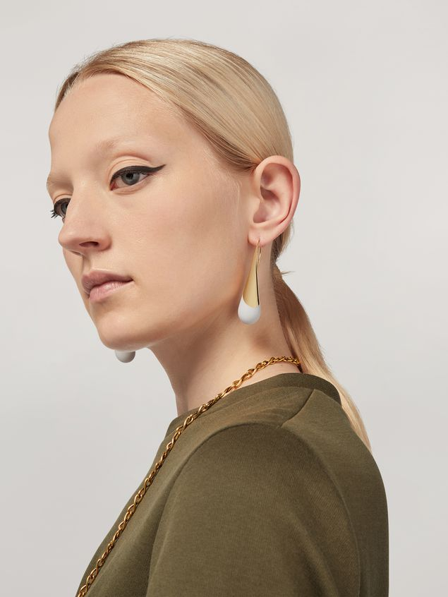 Marni BLOW UP earrings in metal with painted drop-shaped pendant Woman - 2