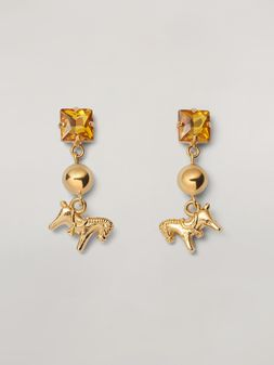 Marni GIGA JACKS earrings in metal and glass with pony-shaped pendant Woman