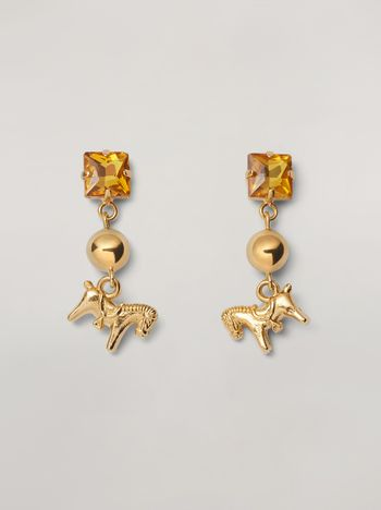 Marni GIGA JACKS earrings in metal and glass with pony-shaped pendant Woman f