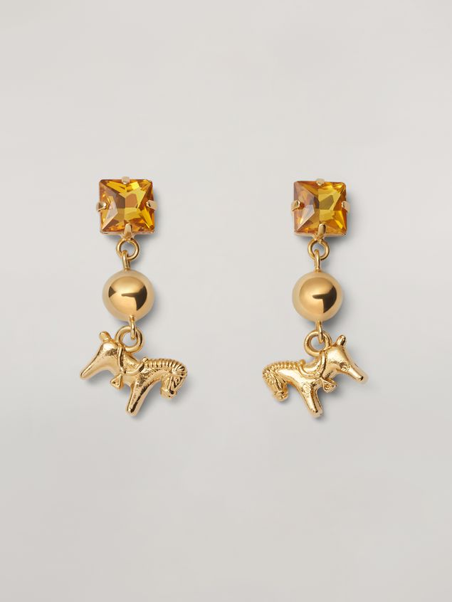 Marni GIGA JACKS earrings in metal and glass with pony-shaped pendant Woman - 1