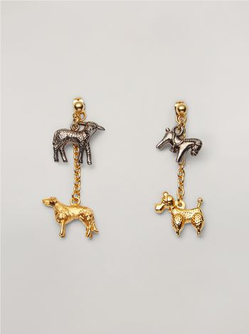 Marni GIGA JACKS earrings in metal and glass with animal pendants Woman f