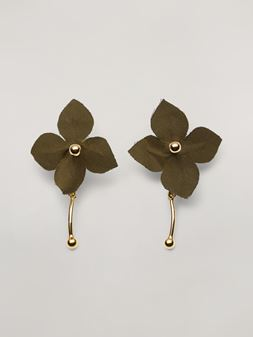 Marni FLORA earrings in metal with contrast cotton flowers Woman