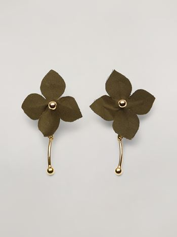 Marni FLORA earrings in metal with contrast cotton flowers Woman f