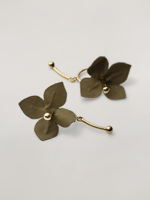 Marni FLORA earrings in metal with contrast cotton flowers Woman - 4