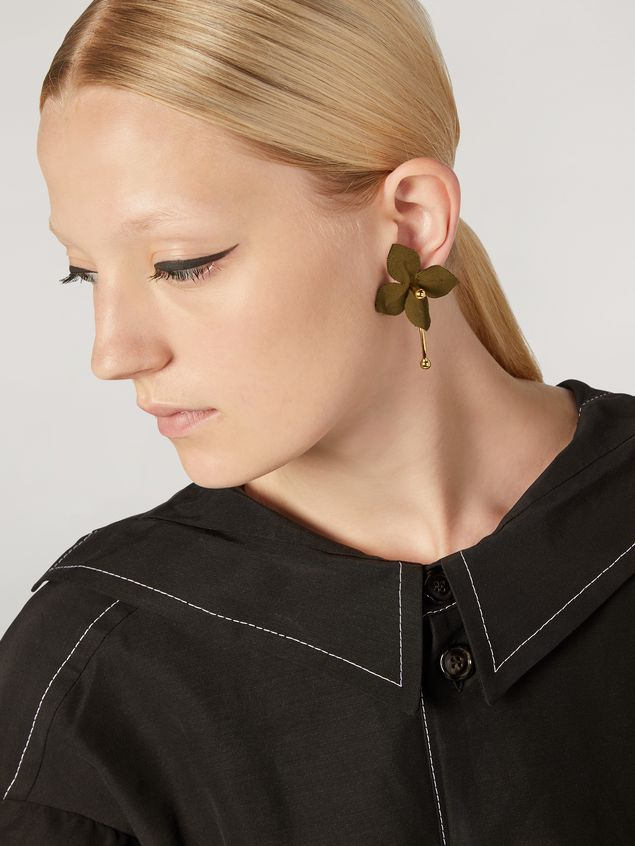 Marni FLORA earrings in metal with contrast cotton flowers Woman - 2