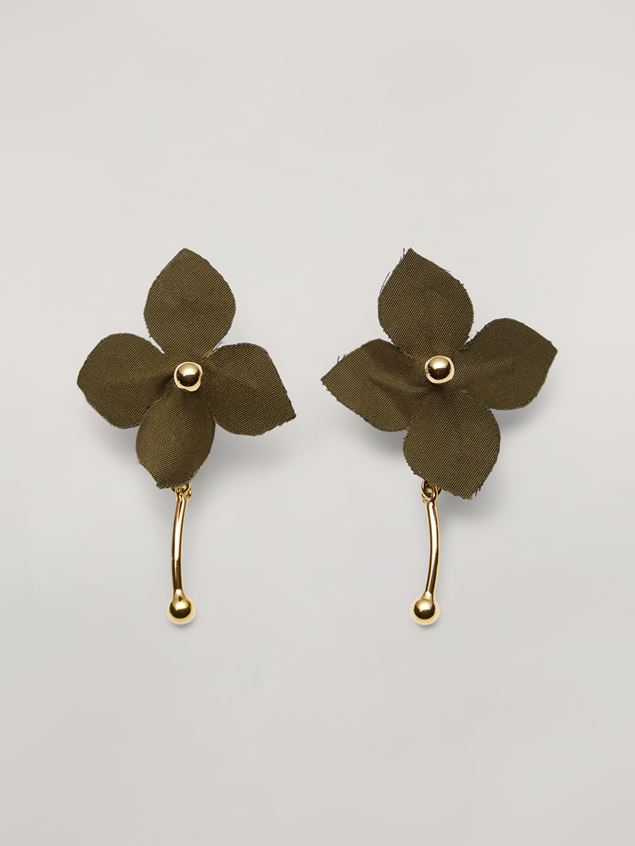 Marni FLORA earrings in metal with contrast cotton flowers Woman - 1