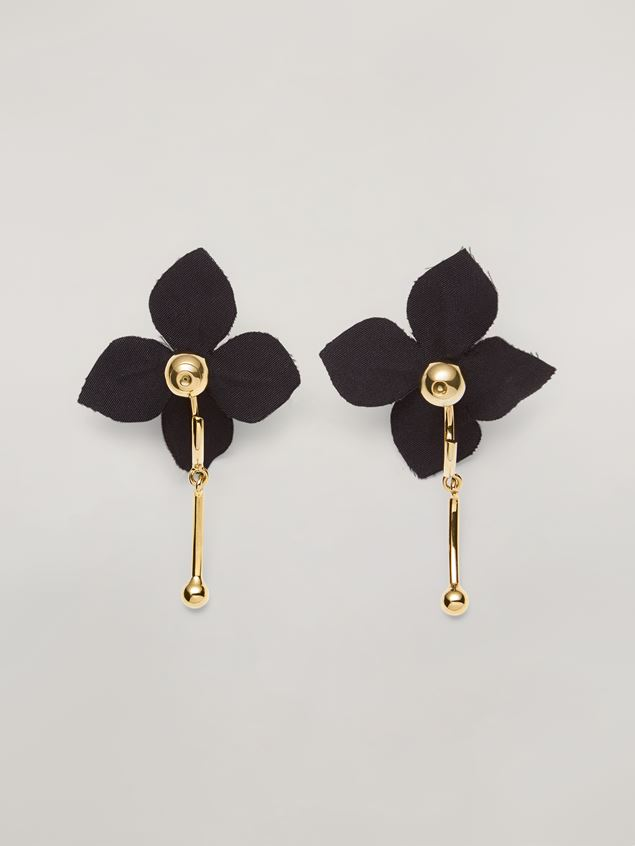 Marni FLORA earrings in metal with contrast cotton flowers Woman - 3