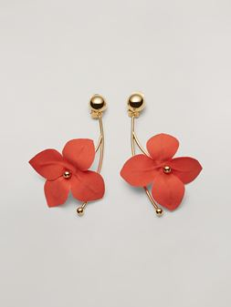 Marni FLORA earrings in metal with branch-shaped pendant and contrast cotton flowers Woman