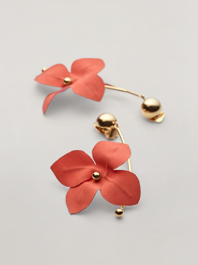 Marni FLORA earrings in metal with branch-shaped pendant and contrast cotton flowers Woman - 4