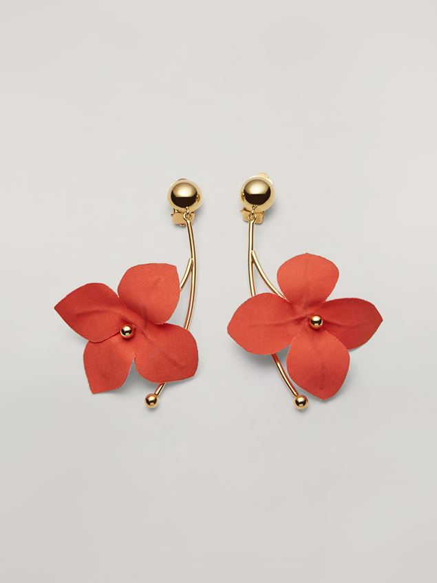 Marni FLORA earrings in metal with branch-shaped pendant and contrast cotton flowers Woman - 1