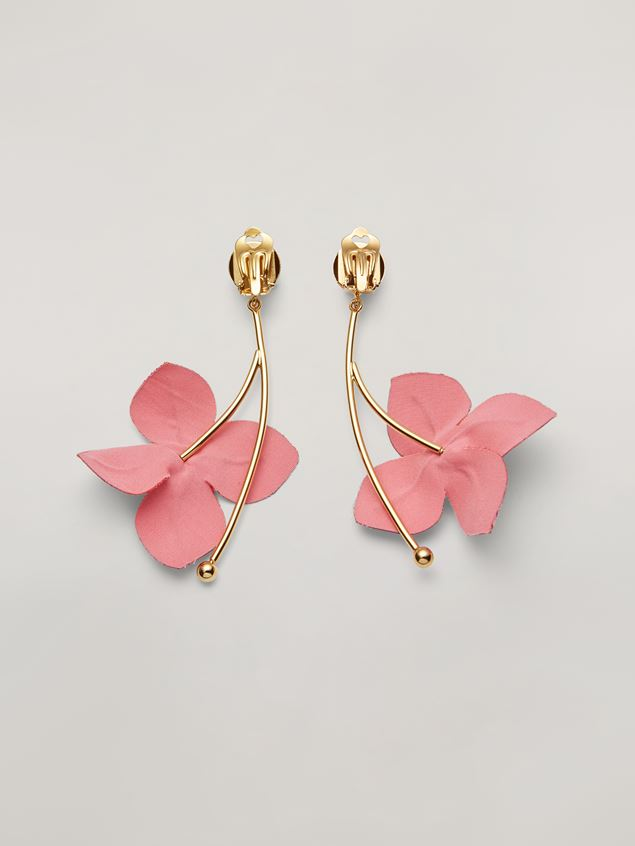 Marni FLORA earrings in metal with branch-shaped pendant and contrast cotton flowers Woman - 3