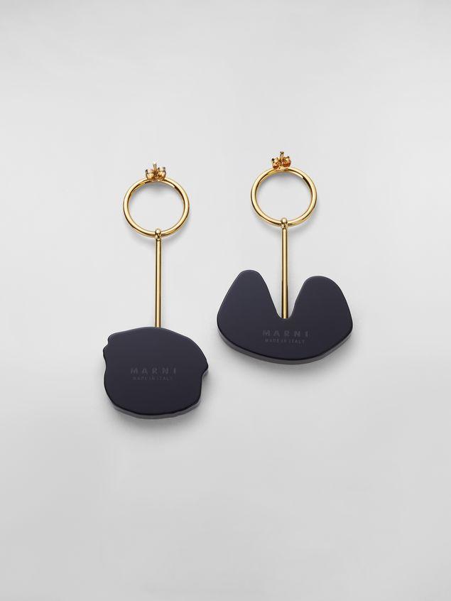 Marni Ohrringe WANDERING IN STRIPES aus Kunstharz und Metall mit Anhängern Damen