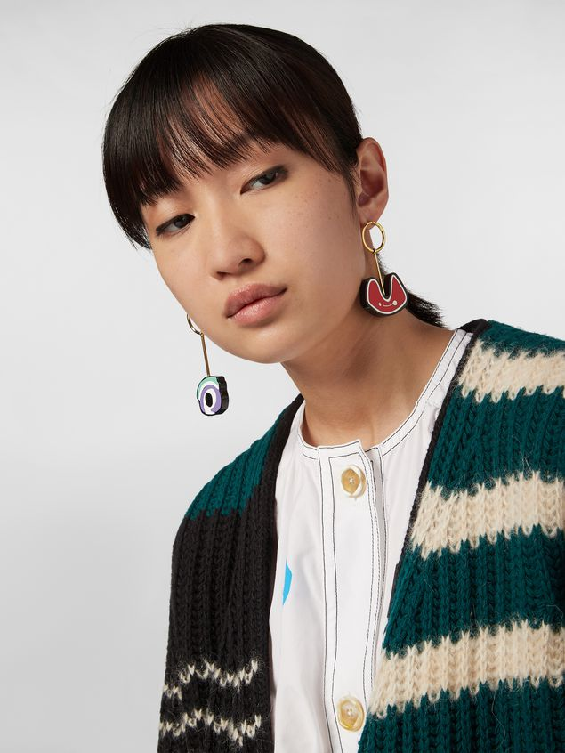 Marni WANDERING IN STRIPES earrings in resin and metal with pendants  Woman - 2