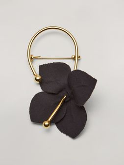 Marni FLORA brooch in metal with contrast cotton flowers black and green Woman