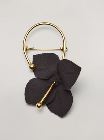 Marni FLORA brooch in metal with contrast cotton flowers black and green Woman f