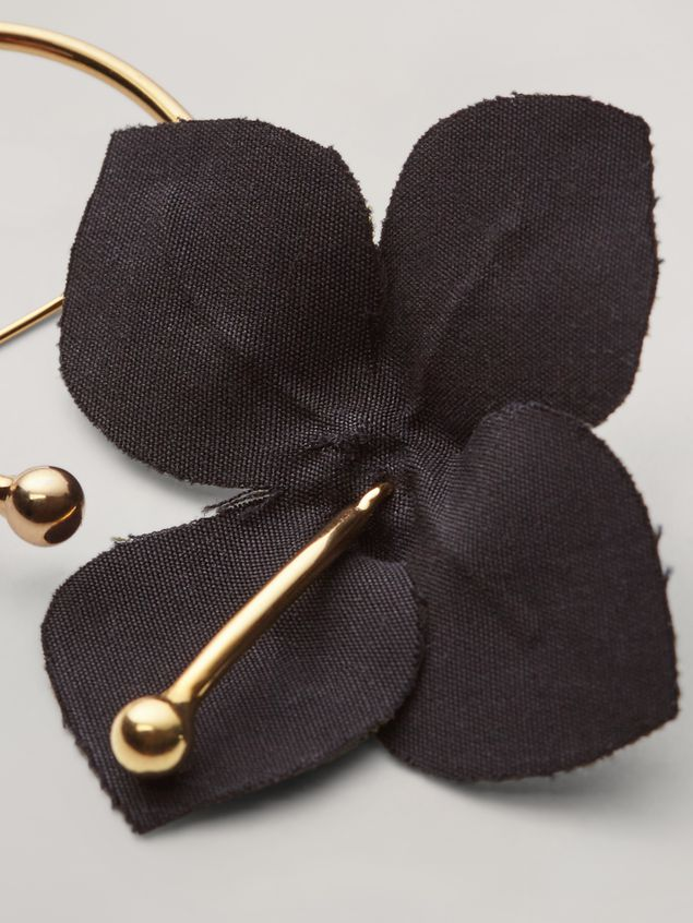 Marni FLORA brooch in metal with contrast cotton flowers black and green Woman - 4